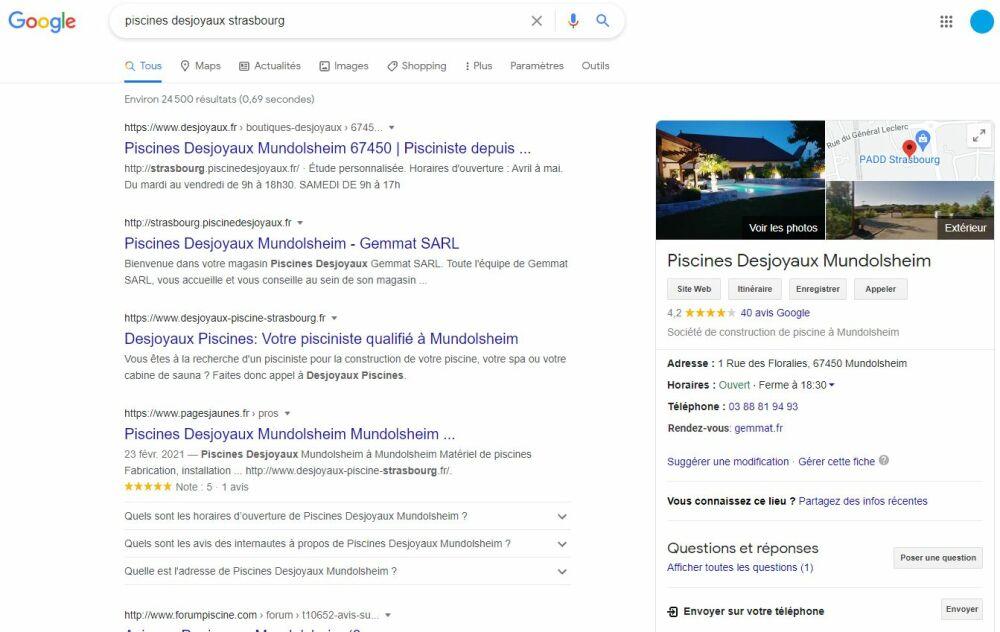 Exemple d'une fiche Google My Business de Piscines Desjoyaux à MundolsheimDR