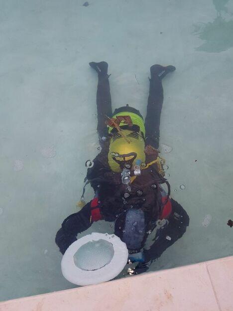test structure piscine avec fluorescéine