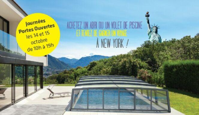 """Journées Portes Ouvertes chez Azenco : pour tout achat d'un volet, participez au tirage au sort et gagnez peut-être un voyage à New-York.<span class=""""normal italic petit"""">© Azenco</span>"""