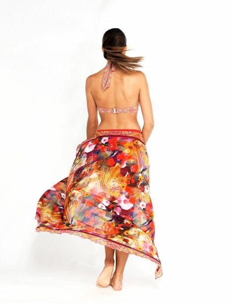 Jupe paréo Coccinelle portée en jupe longue