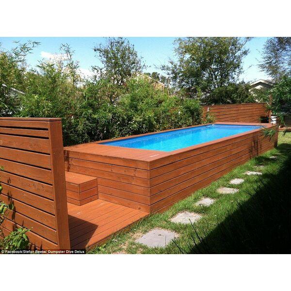 Une piscine faite avec un conteneur ordures l 39 id e for Piscine portable prix