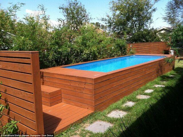 Une piscine faite avec un conteneur à ordures : l\'idée récup ...