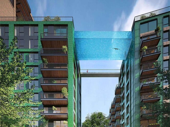 "La future piscine suspendue à Londres  <span class=""normal italic petit"">© Nine Elms</span>"