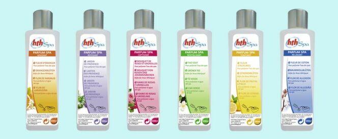 """La gamme de parfums pour spa d'HTH<span class=""""normal italic petit"""">© http://blog.jardideco.fr</span>"""