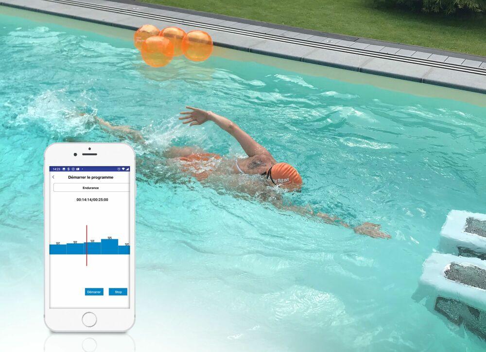 La nouvelle application d'entraînement « HydroStar Next », simplifie la nage efficace.© BINDER