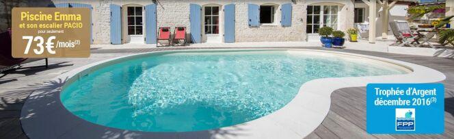 "La piscine Waterair Emma avec son escalier Pacio, à 73€ par mois<span class=""normal italic petit"">© Waterair</span>"