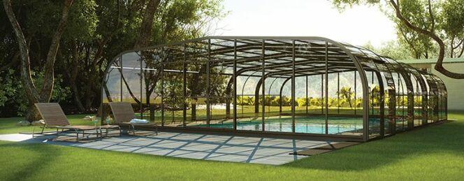 la pose d un abri de piscine 1 avec abri de piscine rideau. Black Bedroom Furniture Sets. Home Design Ideas