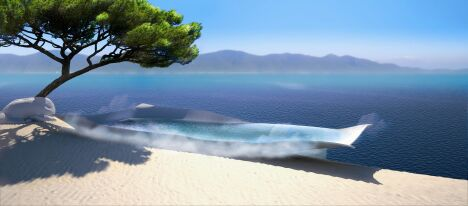 """La piscine design Flying Pool de Diffazur avec vue sur mer : la piscine de demain dès aujourd'hui !<span class=""""normal italic petit"""">© Diffazur</span>"""