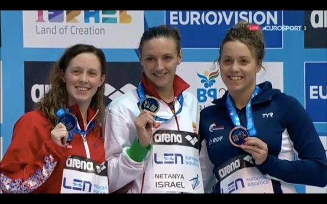"Lara Grangeon en bronze sur le podium des championnats d'Europe à Netanya<span class=""normal italic petit"">© Lara Grangeon</span>"