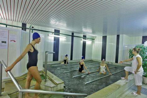 """Le bassin de marche aux thermes de Saubusse-les-Bains<span class=""""normal italic petit"""">DR</span>"""