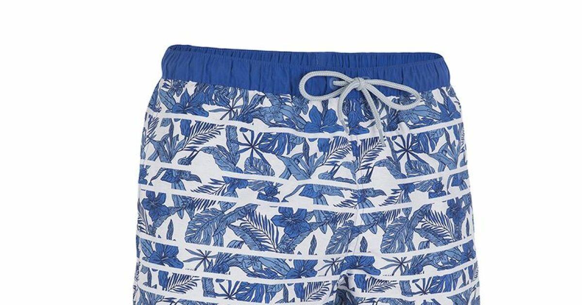 Le short de bain tribal floral hendaia de tribord for Short de bain piscine
