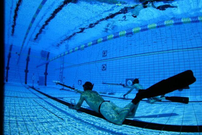 "Le tir sur cible subaquatique<span class=""normal italic petit"">© FFESSM</span>"