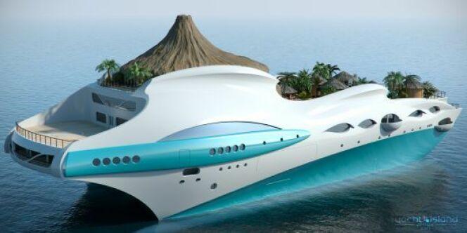 """Le yacht Tropical Island : un île sur un bateau <span class=""""normal italic petit"""">© Yacht Island</span>"""