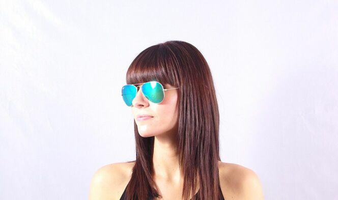 Lunettes de soleil Ray-Ban Aviator femme monture dorée verres miroirs 2013