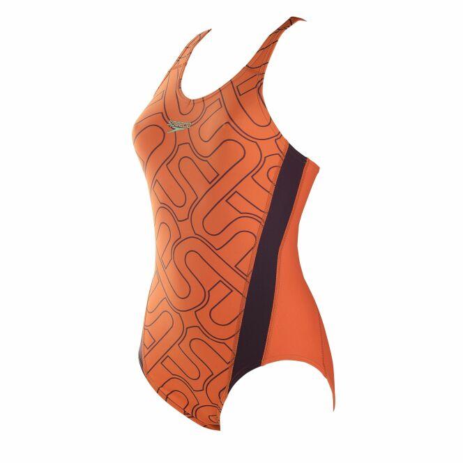 Maillot de bain 1 pièce orange et noir avec imprimé S - Speedo 2014