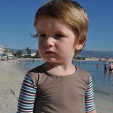 Maillot de bain anti-UV et tee-shirt manches rayées garçon Little Duck