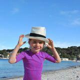 Maillot de bain anti-UV fille à pois et tee-shirt rayé rose et bleu Little Duck