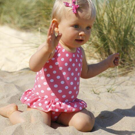 """Maillot de bain bébé fille rose à pois<span class=""""normal italic petit"""">© Cocoon</span>"""
