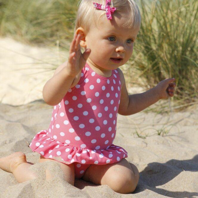 Maillot de bain bébé fille rose à pois
