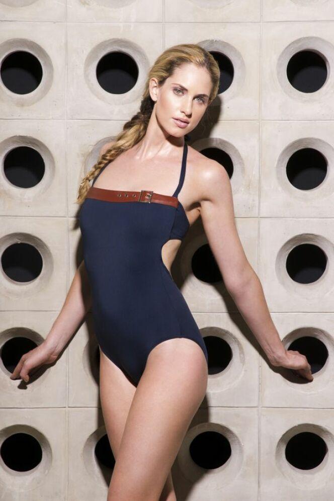 Maillot de bain bustier une pièce bleu foncé Jog Swimwear