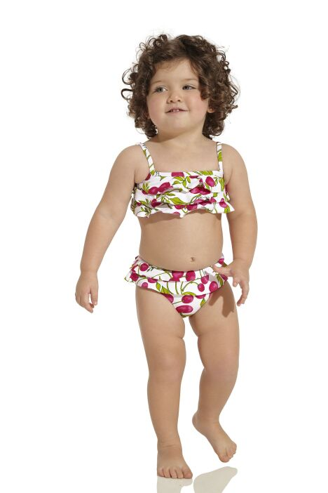 """Maillot de bain deux pièces bébé fille imprimé cerises et volants OndadeMar<span class=""""normal italic petit"""">© OndadeMar</span>"""