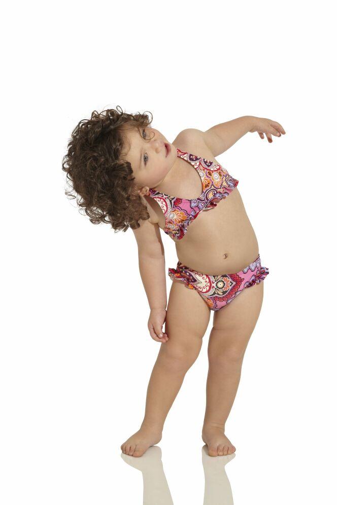 Maillot de bain deux pièces bébé fille imprimé oriental rose et orange OndadeMar