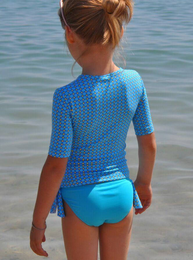 Maillot de bain enfant et tee-shirt anti-UV bleu petite fille Little Duck