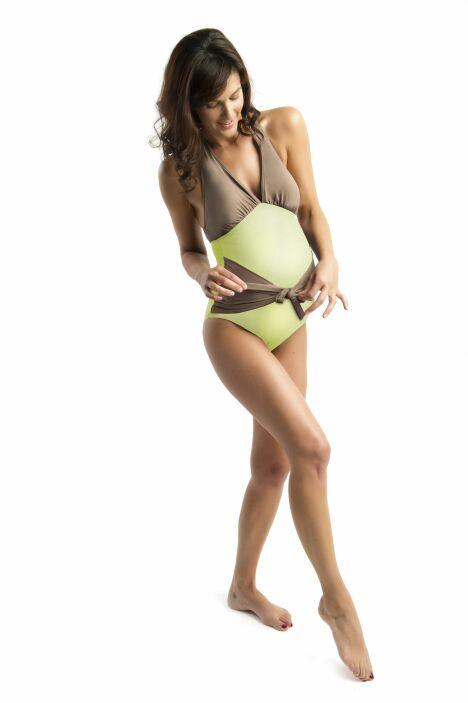 Maillot de bain grossesse vert anis et taupe Java - Les UltraViolettes