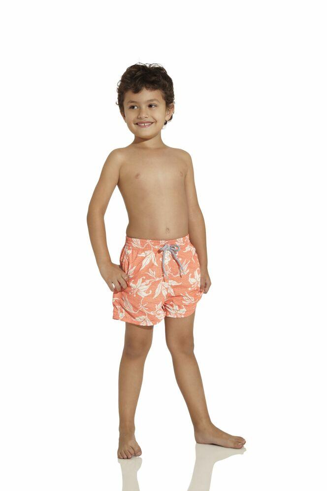 Maillot de bain petit garçon imprimé tropical orange et blanc OndadeMar