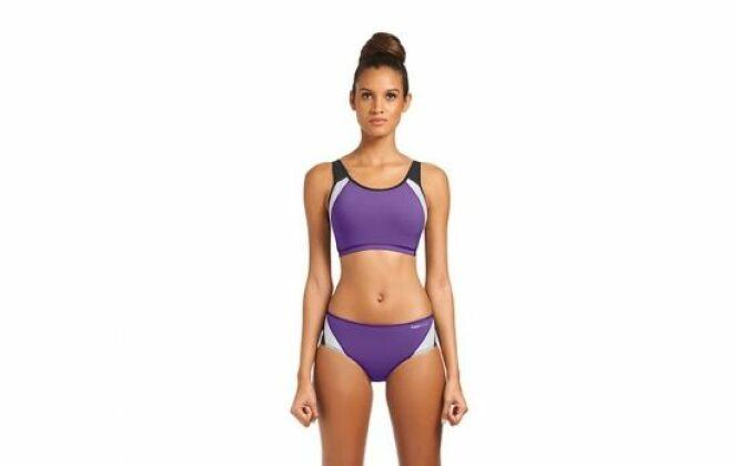 Maillot de bain sportif deux pièces Carla violet brassière © Carla