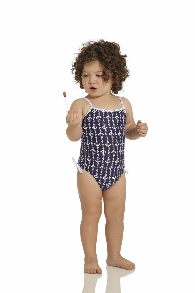 Maillot de bain une pièce bébé fille bleu marine et blanc OndadeMar 2013