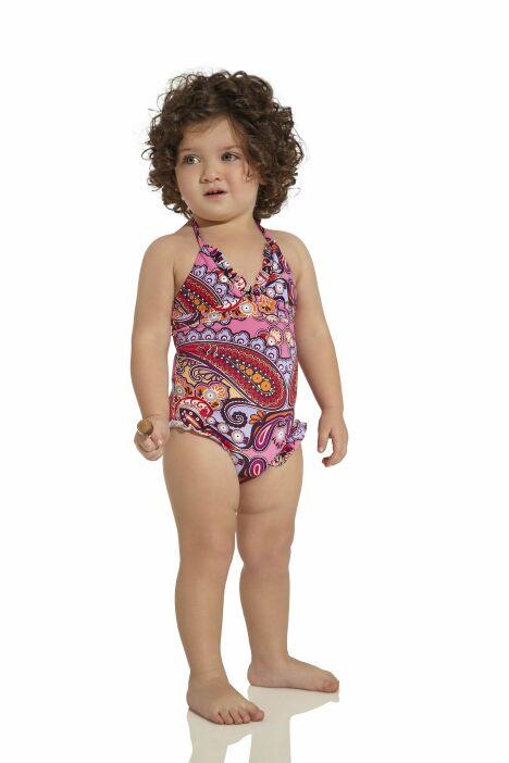 """Maillot de bain une pièce bébé fille imprimé oriental rose et volants OndadeMar<span class=""""normal italic petit"""">© OndadeMar</span>"""