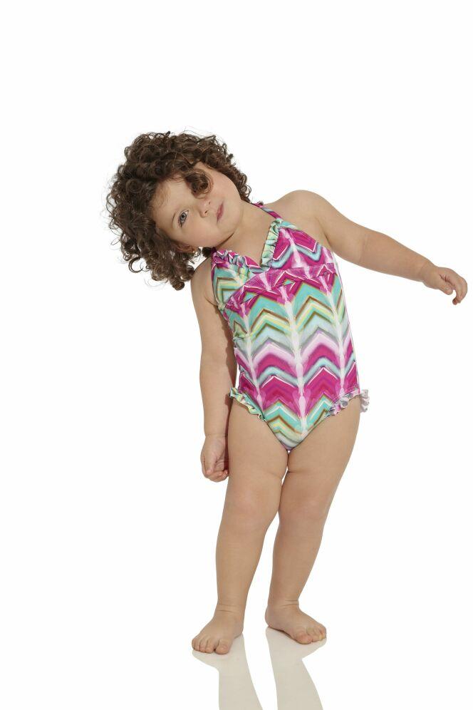Maillot de bain une pièce bébé fille rose et vert OndadeMar 2013