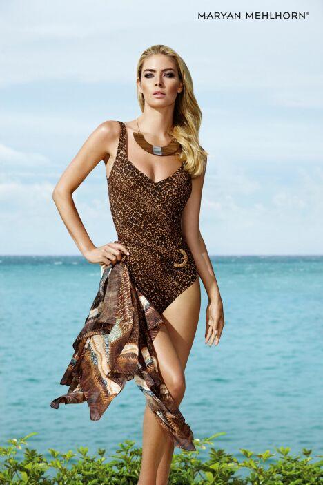 "Maillot de bain une-pièce brun collection Desert Island par Maryan Mehlhorn (été 2013)<span class=""normal italic petit"">© Maryan Mehlhorn</span>"