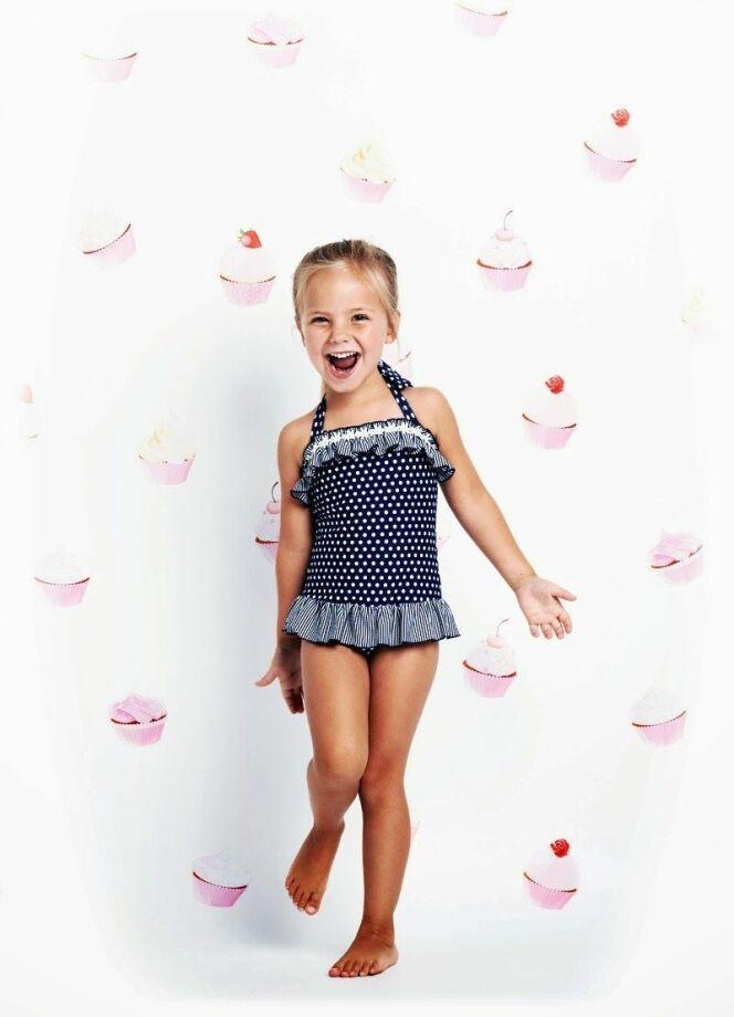 Maillot de bain une pièce enfant fille à pois collection 2014