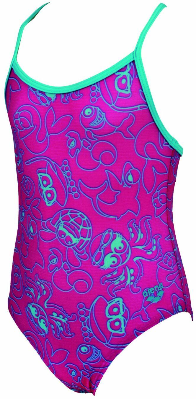 Maillot de bain une pièce fillette rose et bleu, motif animaux de la mer© Arena