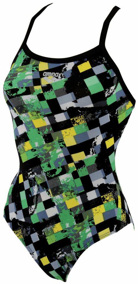"""Maillot de bain une pièce imprimé noir, vert et jaune Arena<span class=""""normal italic petit"""">© Arena</span>"""