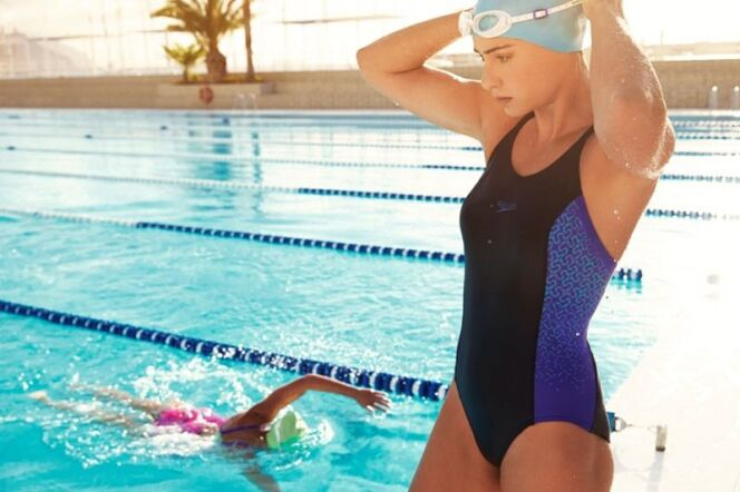 Maillot de bain une pièce noir et bleu avec motifs Speedo Swim Fitness 2014
