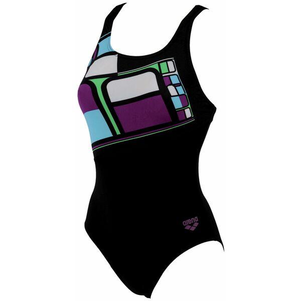Maillot de bain femme une pi ce noir imprim violet for Piscine et bain coulommiers