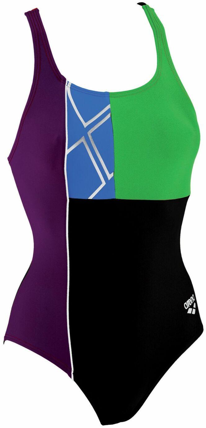 Maillot de bain une pièce noir, violet et vert Millencolin