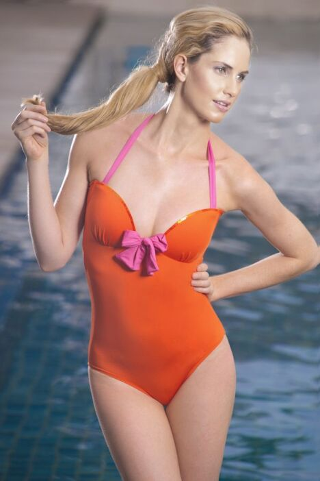 Maillot de bain une pièce orange avec bretelles et noeud fushia Jog Swimwear