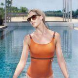 Maillot de bain une pièce femme orange, détails boucles Jog Swimwear