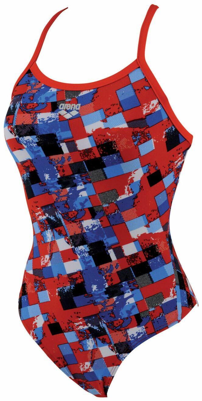 Maillot de bain une pièce rouge imprimé bleu et noir Mahogany Arena