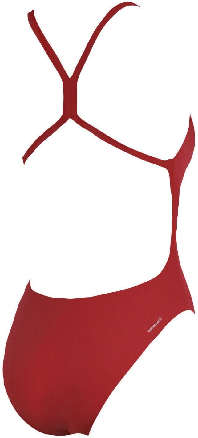 Maillot de bain une pièce rouge uni dos croisé Mast high Arena