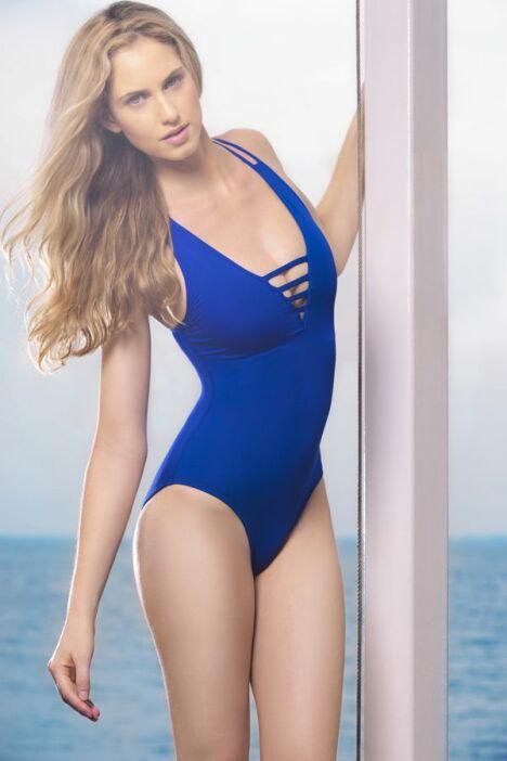 """Maillot de bain une pièce uni bleu azur décolleté travaillé Jog Swimwear<span class=""""normal italic petit"""">© Jog Swimwear</span>"""