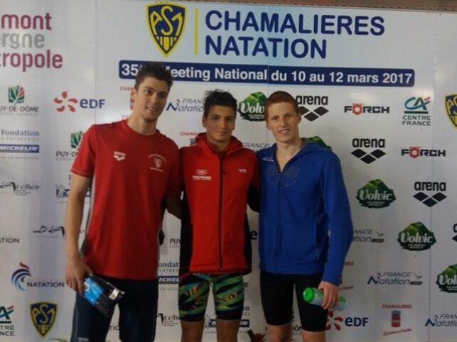 Marc Antoine (au milieu) est arrivé 1er au 400m 4 nages.