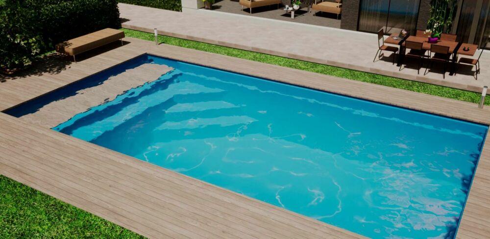 Mediester : une piscine coque avec couverture et caillebotis immergés© Mediester Piscines