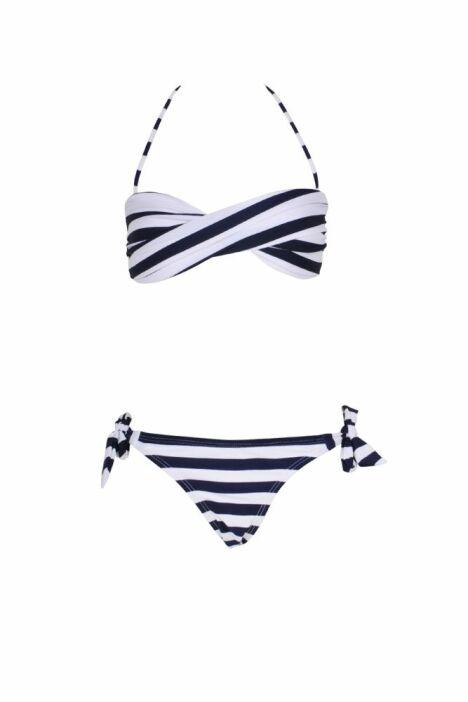 "Mini Twist Bikini Rayé Bleu Marine <span class=""normal italic petit"">© Monpetitbikini</span>"