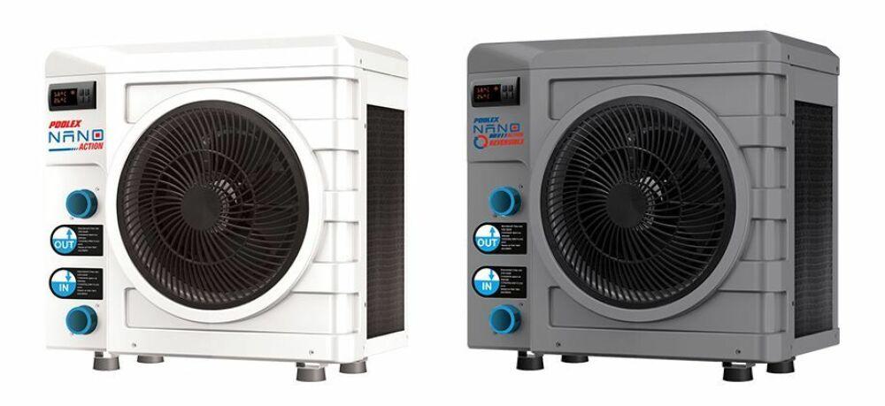 Modèles de pompe à chaleur Nano Action, classique (à gauche) et réversible (à droite)© Poolex