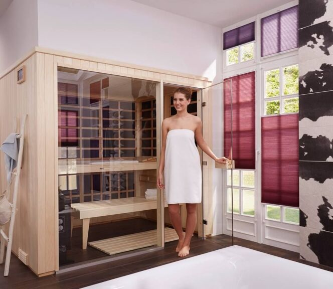 "Ne plus choisir entre sauna traditionnel et infrarouge, avec Helo Sauna<span class=""normal italic petit"">© Helo Sauna</span>"